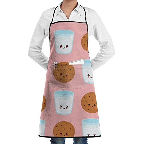 GHJQWES Cute Happy Smiling Chocolate Chip (2) Funny Chef Birthday Black Apron Gift Ideas for Women,Men,Mom,Dad,Wife,Unisex - Adjustable Kitchen Aprons Cook Bib for Cooking Baking Grilling BBQ from GHJQWES