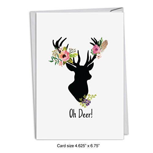 - 12-Pack Box Set of 'Oh Deer' Greeting Cards with Envelopes 4.63 x 6.75 inch, Merry Xmas Note Cards for Holidays and Gifts, Silhouetted Deer with Floral Antlers, Notecard Stationery C4999AXSG-B12