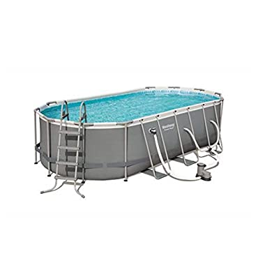 Bestway 56711E Power Steel Above Ground Pool, White/Gray