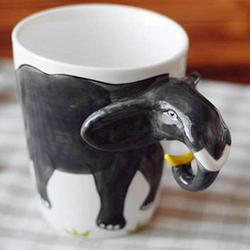 Hand Painted Milk - Elephant Trunk Shaped Handle - 3D Ceramic Tea Cup Lucky Elephant Coffee Mug 13.5oz Animal Novelty Funny Ceramic Mug Hand Painted Milk Cup for Office and Home (Elephant)