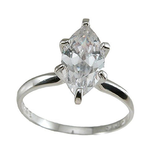 Plutus Brands 925 Sterling Silver CZ Marquise Solitaire Wedding Ring 0.5 carat Weight- Size 8
