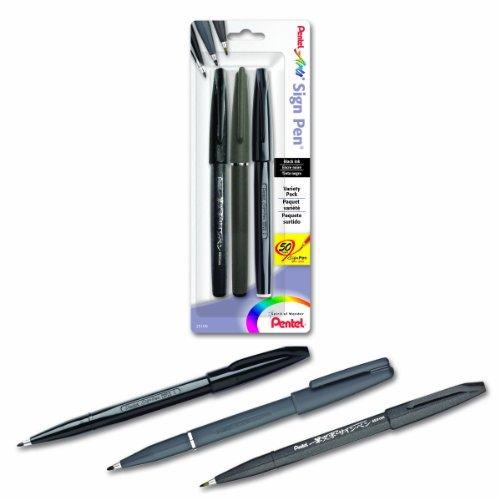 Pentel Arts Sign Pen Assorted Styles 3-PK