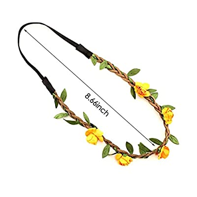 KUMEED 6 PCS Hawaiian Leis Flowers Necklace Headbands Tropical Luau Hawaii for Party Supplies, Beach Party Decorations, Wedding, Birthday Party Favors: Health & Personal Care