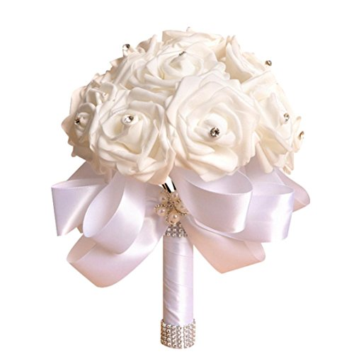 Bridesmaid Flowers,Han Shi Crystal Roses Tulle Pearl Bouquet Artificial Silk Flowers (S, White)