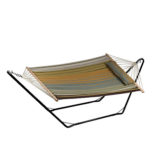 Sun Stand (Sunnydaze Cotton Fabric Hammock and Detachable Pillow with 10 Foot Stand, Sunset Beach, 300 Pound Capacity)