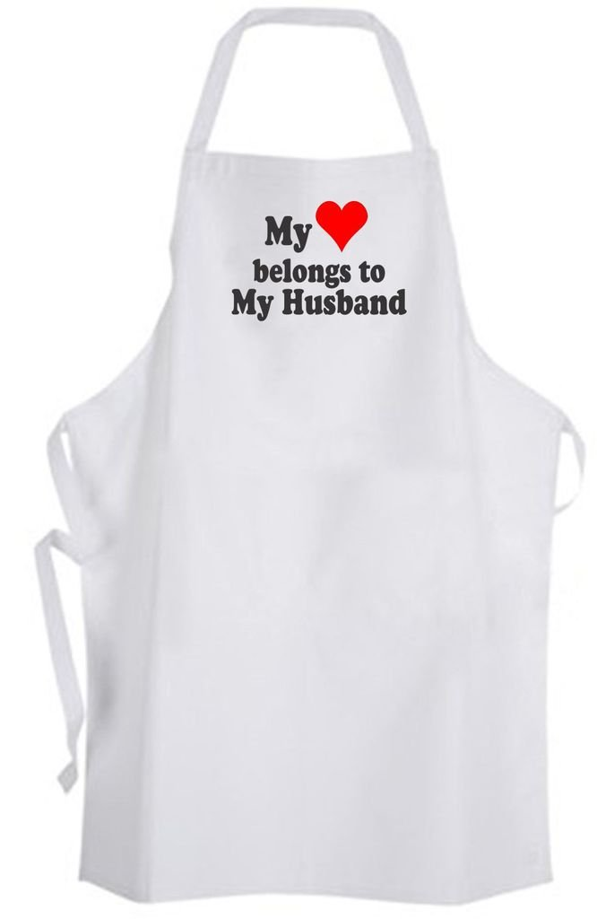 My Heart belongs to My Husband – Adult Size Apron - Love Wedding Wife
