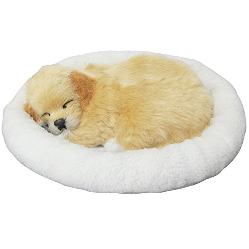 Signstek Emulation Sleeping Breathing Dog Toy Pet with Woolen Bed (Dog)