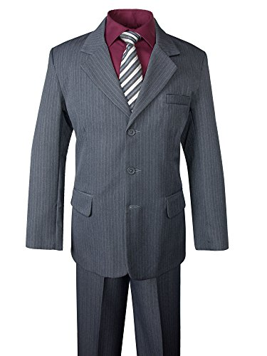 Spring Notion Big Boys' Pinstripe Suit Set Grey-Silver Stripes 8 by Spring Notion