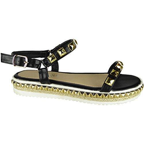 Sandales Cloutées Noir 3 forme Tailles Chaussures Plate Toile Compensées Jute Pour De Fort Femmes De 8 Regard Flatform Dames Peeptoe p04qTv