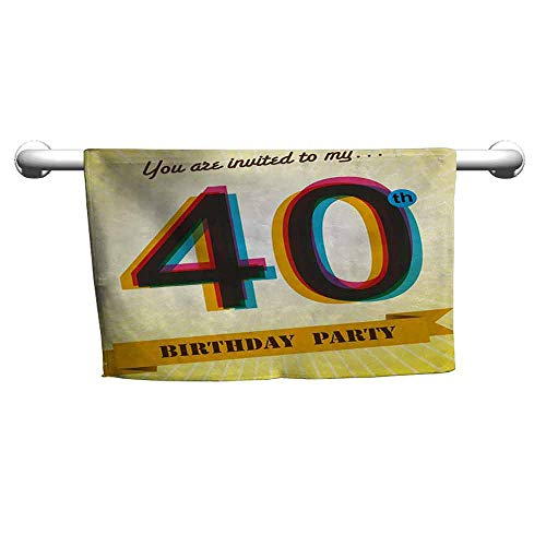 duommhome 40th Birthday Beach Towel Vintage Style Graphic Banner Party Invitation Theme Optical Striped Design W12 x L27 Multicolor for $<!--$13.50-->