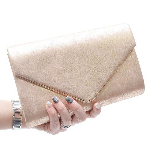 Vain Secrets Damen Umhänge Tasche Clutch Abendtaschen in vielen Farben Champagne Strass