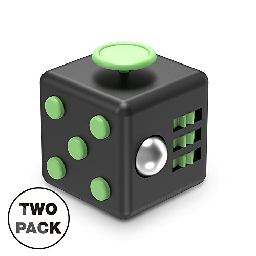 XDesign Fidget Cube 6 Sides Stress Releaser Ball [2-Pack] Anti-anxiety Depression Figit Dice Prime Focus Toy for Children, Students and Adults, Great for Work, Class, Home - [Black/Mint] 2 Pack