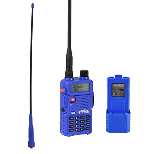 Dual Band Bundle - Rugged Radios RH5R-BUNDLE RH-5R Dual Band Handheld Two Way Radio with Ducky Antenna and High Capacity 3800mAh Battery Pack Kit