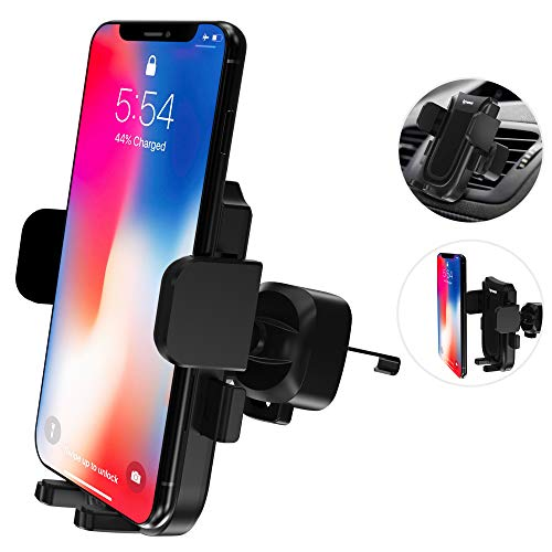 (IPOW Air Vent Car Phone Mount Auto Lock Strong Phone Grip Sturdy Metal Backward-Hook Vent Blade Grasp One Hand Operation 360 Degree Rotation Cell Phone Holder for Car Compatible with All Smartphones)