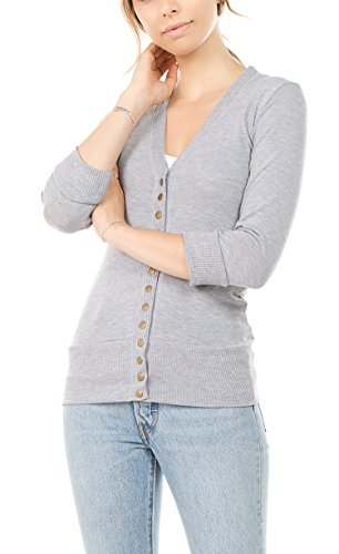 Vialumi Women's Solid 3/4 Sleeve Cardigan with Ribbed Details H Grey Large by Vialumi