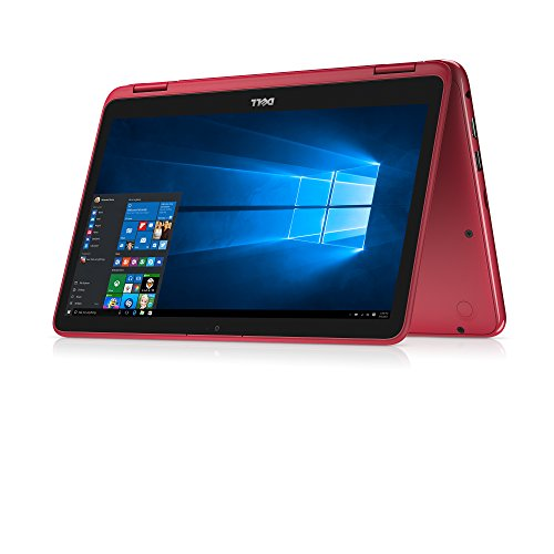 "Dell Inspiron 11.6"" Touchscreen 2 in 1 Convertible Laptop PC, AMD A6-9220e Processor up to 2.4 GHz, 4GB DDR4, 32GB eMMC SSD, Radeon R4 Graphics, Wifi, Webcam, Bluetooth, Windows 10-Red"