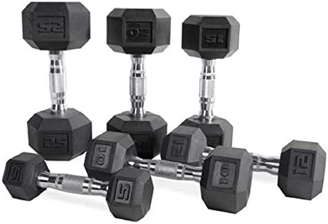 CAP Barbell Set of two Hex Rubber Dumbbell with Metal Handles, Pair of two Heavy Dumbbells Choose Weight (5lb, 8lb, 10lb, 15lb, 20 Lb, 25lb, 30lb, 35lb, 40lb, 50lb)
