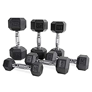 Well-Being-Matters 41lVls4IgxL._SS300_ CAP Barbell Hex Rubber Dumbbell with Metal Handles, Heavy Dumbbells Choose Weight (5lb, 8lb, 10lb, 12lb, 15lb, 20 Lb…