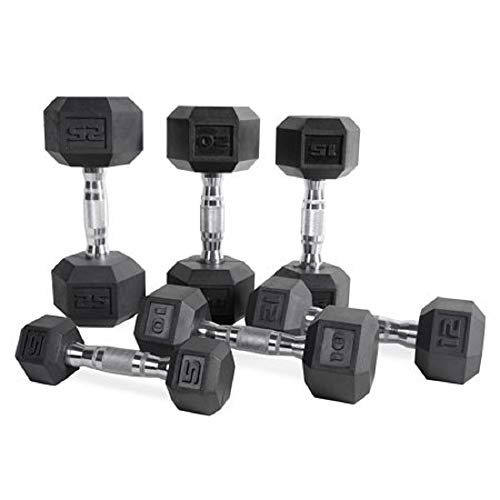 CAP Barbell Set of 2 Hex Rubber Dumbbell with Metal Handles, Pair of 2 Heavy Dumbbells Choose Weight (12lb x 4) by CAP Barbell (Image #4)