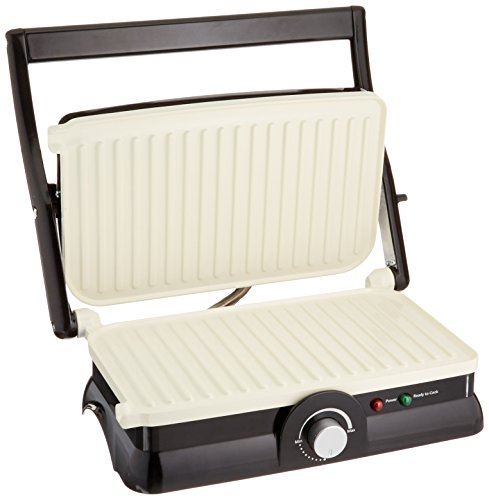 Oster Titanium-Infused DuraCeramic 2-in-1 Panini Maker and Grill, Black with White Griddles (CKSTPM20W-TECO) by Oster (Image #1)
