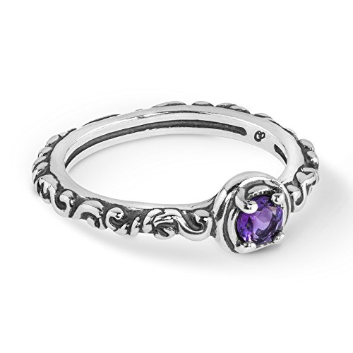 (925 Silver & Faceted Amethyst Single Stone Band Ring - Size)