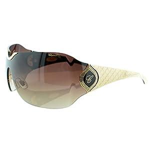 Chopard SCH 883S 300 Women Brown 23KT GP Wrap-Around Shield Designer Sunglasses