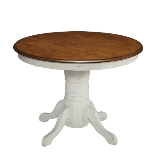 "Home Styles 5518-30 French Countryside Round Pedestal Table, 42"" W x 42"" D x 30"" H, Oak/White"