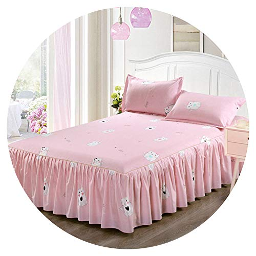 Classic Single Layer Skirt Non-Slip Sheet Cover Bed Sheet Room Decoration Flower Printing Bedspread Pillowcase 3pcs,13,150x200CM