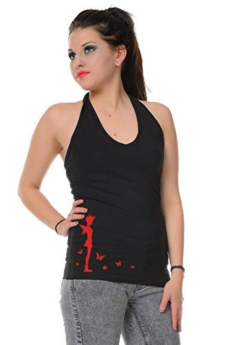 espalda mangas Top cuello Elves sin halter Punk Negro 3elfen Mujer estampado Verano Triangl Rojo sin camisa con 1w8HIEqR