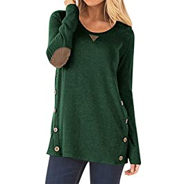 HARHAY Women's Long Sleeve Faux Suede Casual Blouse Tunic Shirt Tops