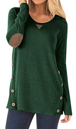 HARHAY Women's Long Sleeve Faux Suede Casual Blouse Tunic Shirt Tops Army Green S by HARHAY