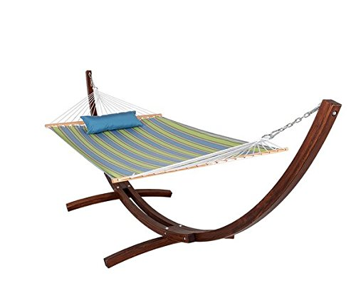 HomyDelight Fabric Hammock, pillow and 12 Feet Wood Arc Stand, Backyard Combo Set, Bravada Limelite,Russian pine coated with varnish 165