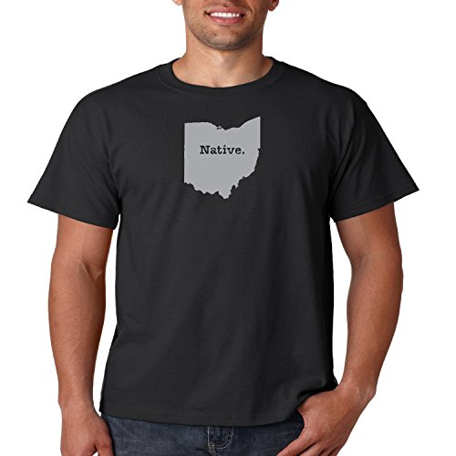 Ohio State Map T Shirt Native OH Mens Tee S-5XL (Black, 2XL)