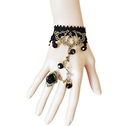 Time Pawnshop Retro Bronze Flower Vine Black Lace Rose Ring Lady Wrap - Dress Sunglasses Barn