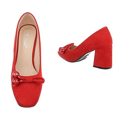 Ital-Design Women's Court Shoes Kitten Heel High Heels Red Gaq-22 z7E6Pug