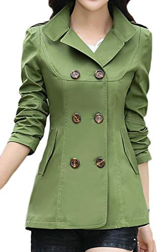 (ARTFFEL Womens Slim Fit Solid Double Breasted Autumn Short Trench Coat Jacket Blazer Armygre)