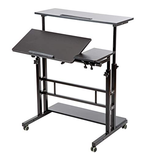 BarleyHome Mobile Stand Up Desk, Adjustable Laptop Desk with Wheels Storage Desk Home Office Workstation, Rolling Table Laptop Cart for Standing or Sitting, Black (Computer Stand Cart Up)