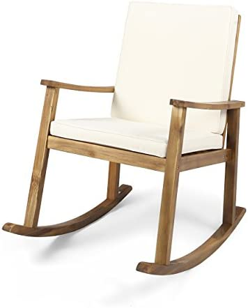 Christopher Knight Home 304648 Caspar Outdoor Acacia Wood Rocking Chair with Cushion Teak Cream, Finish
