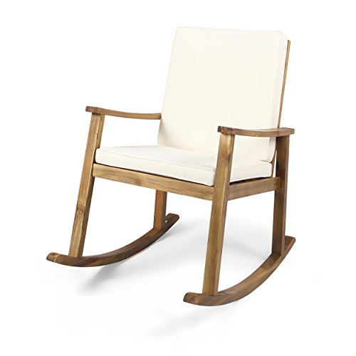 Great Deal Furniture | Caspar | Outdoor Acacia Wood Rocking Chair with Cushion | Teak/Cream