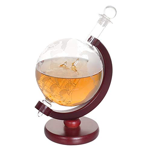 NEX Whiskey Decanter, Spirits Liquor Decoration, Etched World Globe Shape Design, Fiberboard Stand, Crafted Glass Sailing Ship, 1000ml Capacity, Father's Day -