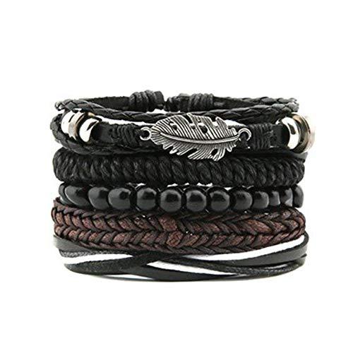 LOLIAS 24 Pcs Woven Leather Bracelet for Men Women Cool Leather Wrist Cuff Bracelets Adjustable (Style L:5 pcs YM)