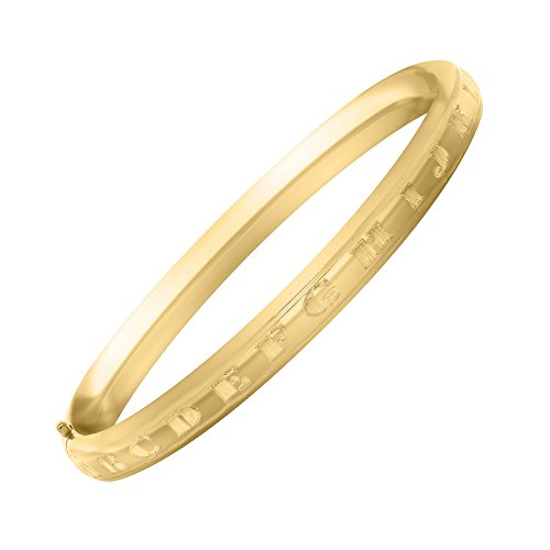 Toddler Jewelry - 5 1/4 Inches 14K Yellow Gold Alphabet Bangle Bracelet by Loveivy
