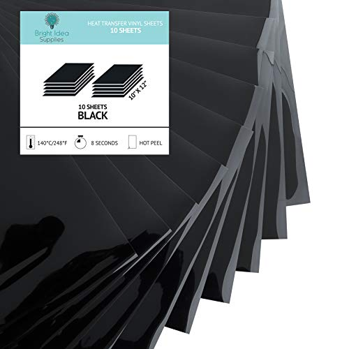 Bright Idea Supplies Black Heat Transfer Vinyl HTV Bundle - 10 Pack of Black HTV Sheets - Iron On Vinyl for Cricut - Black HTV Vinyl for Cricut, Silhouette Cameo and Heat Press