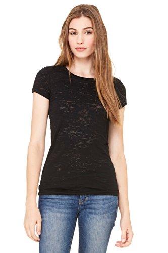 Bella Damen Burnout T-Shirt, kurzärmelig mit Marmortextur, schwarz, M
