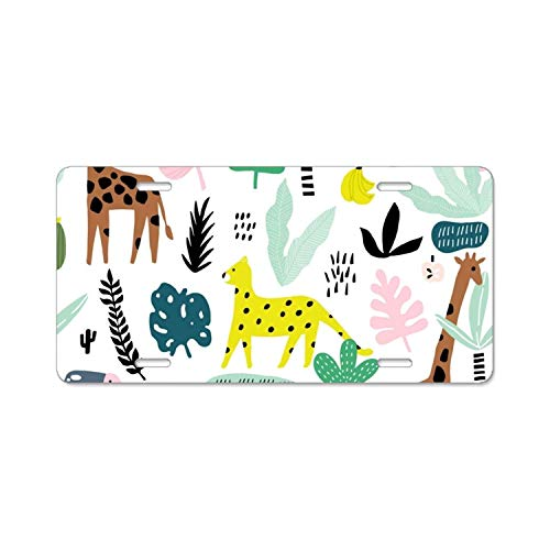 American Flyer Giraffe - YEX Giraffe Leopardtucan License Plate with 4 Holes Novelty Car Licence Plate Covers Tag Sign