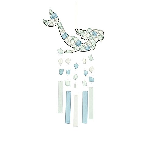 MIDWEST-CBK Peaceful Sea Glass Wind Chime (Mermaid Swimming) (Chime Glass Driftwood)