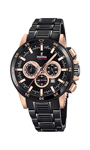 Men's Watch Festina - F20354/1 - CHRONO BIKE 2018 Special Edition - Chronograph - Date - AM/PM - Black and Rose-Gold Plated