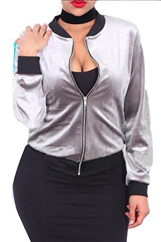 Gery Fashion Full Bomber Velvet M amp;W Jackets Zipper Women's Casual amp;S qPxw7v7tY4