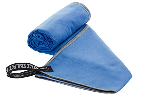 Ultimate Towels Travel Towel - Super Absorbent Quick Drying Microfiber Towel for Camping, Beach, Pool, Gym, or Swimming Blue/Grey XL 30