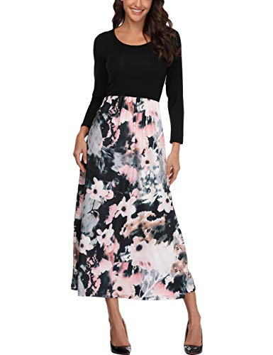 Anienaya Women's Retro Contrast Long Sleeve Top Boho Floral Print Casual Long Maxi Dress Ethnic ()